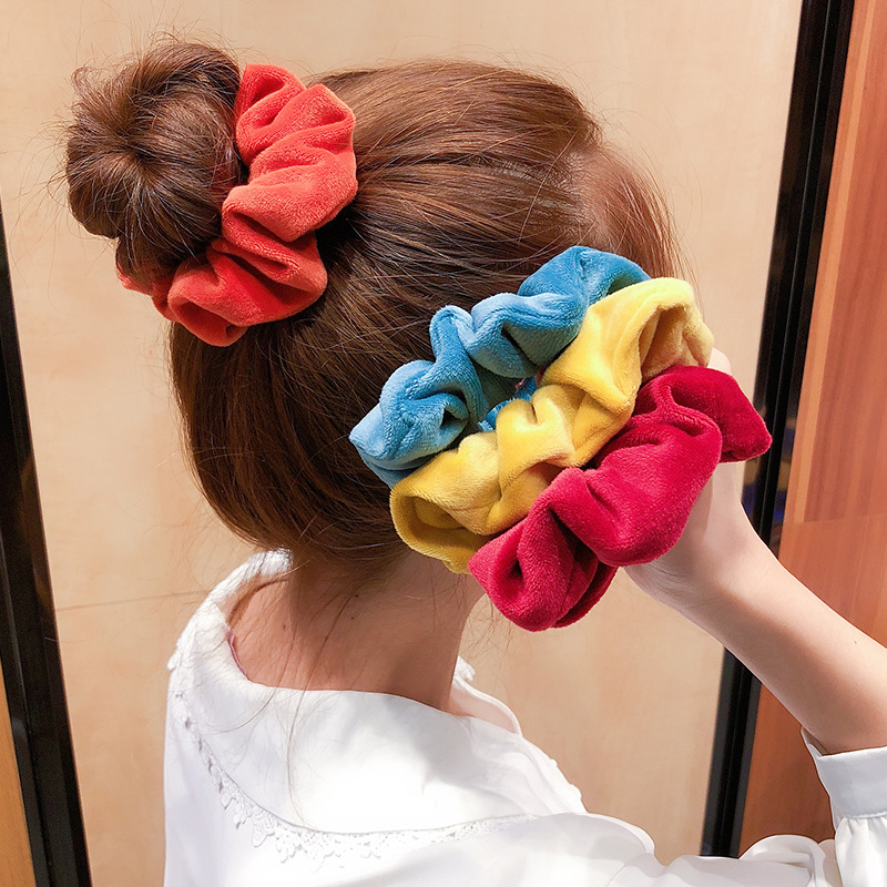 Haimeikang Women Velvet Hair Ropes Solid Color Hair Rubber Scrunchies Fashion Ponytail Holder Large Intestine Hair Accessories