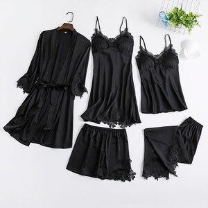 Image 5 - Conjunto de 5 uds. De ropa de dormir para mujer, camisón de noche, Kimono, vestido de novia, lencería íntima, albornoz de encaje, novedad de 2020