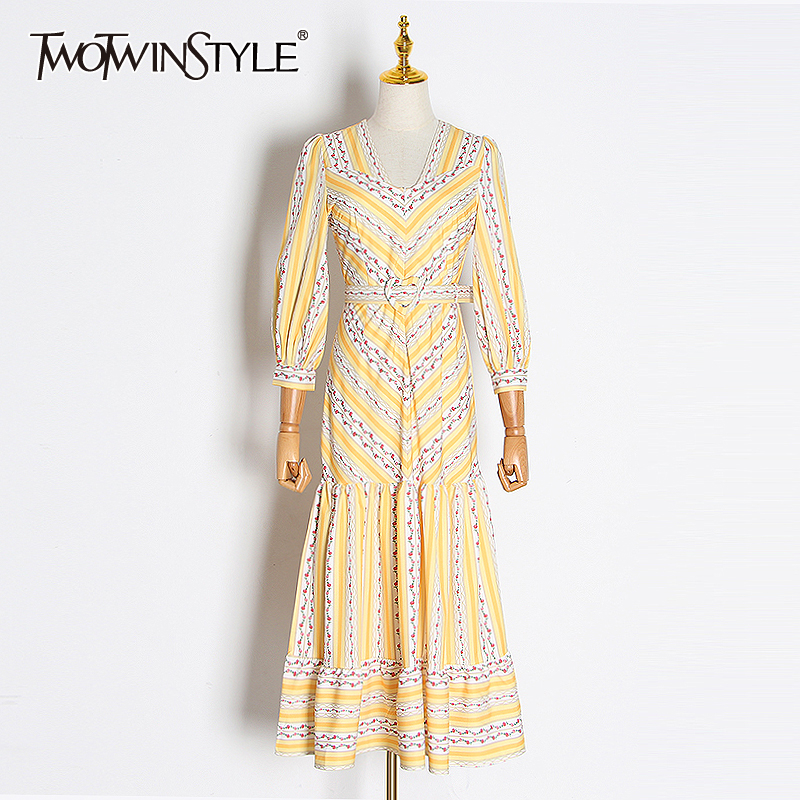 TWOTWINSTYLE Casual Print Dresses For Female V Neck Lantern Long Sleeve High Waist With Sashes Ruffles Dress Women Fashion Tide