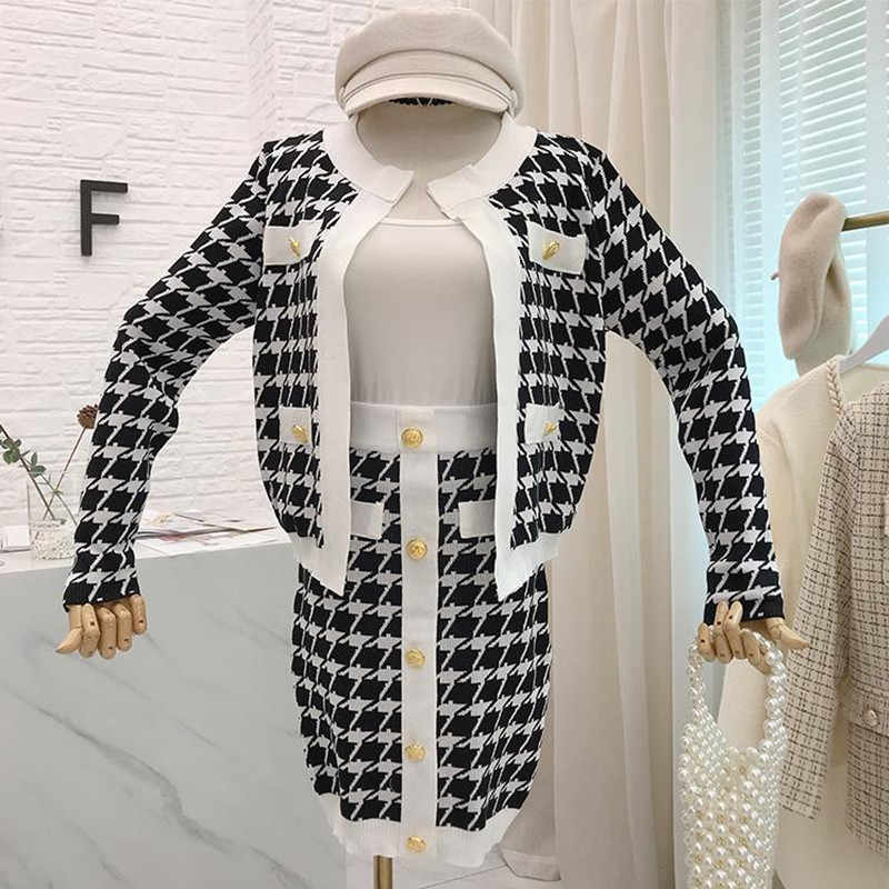 Autumn Winter New 2019 Gold Button Houndstooth Fashion Runway Knitted 2 Piece Set Women Jacket Coat+Short Pencil Skirt Suits