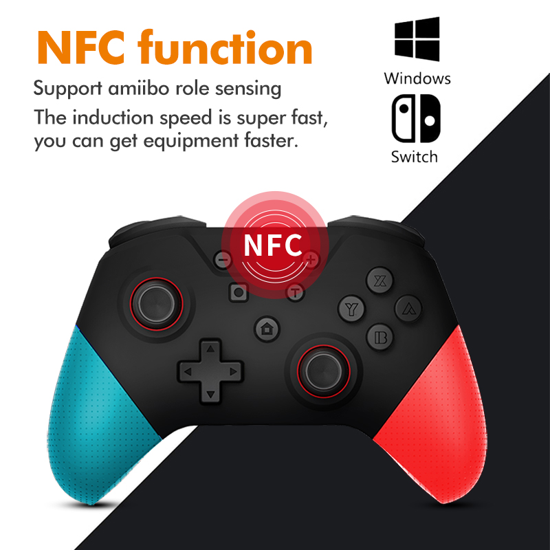 For Switch Pro Bluetooth wireless controller with nfc functions 6-Axis supports Amiibo role sensing for Nintend Switch console