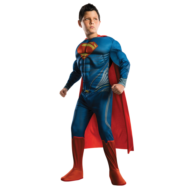 Blue Kids Deluxe Muscle Jumpsuit Superhero Cosplay Costume Superman Bodysuit Halloween Carnival Party Disfraz