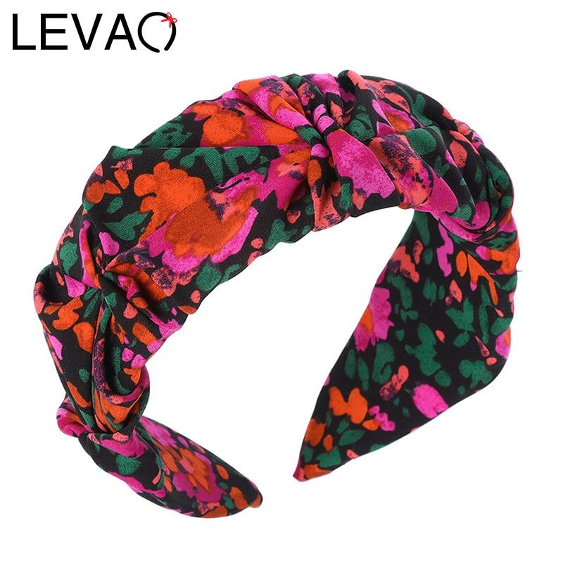 LEVAO Flower Print Headband Bezel Turban Scrunchies for Women Hairband Girls Hair Accessories Head Hoop Hair Jewelry Rubber Band