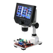 600X 4.3 cal mikroskop cyfrowy elektroniczny mikroskop wideo HD LCD lutowania naprawa telefonu lupa + metalowy stojak