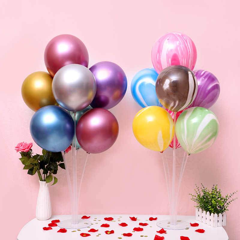 1set Happy Birthday Balloon Air Balls Stick Stand Baloon Birthday Party Decor Kid adulto arco tavolo porta palloncini accessori