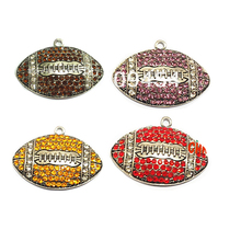 (Choose Color First) 50mm*35mm  10pcs/lot Antique Silvery Football  Pendant