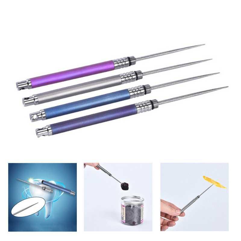 Зубочистка для наружного использования, для фруктов, вилка, титановая зубочистка с защитным чехлом, легкий многофункциональный инструмент для кемпинга, пикника