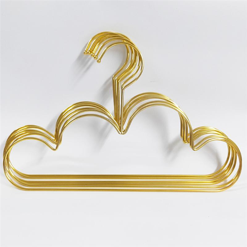 5pcs Hangers Non Slip Metal Toddlers Clothes Hanger Golden Kids Cloud Shape Coat Hanger Clothing Storage Organizer Rack
