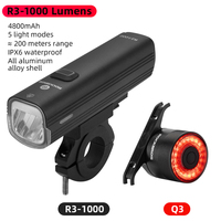 ROCKBROS luce per bici luce per bicicletta ricarica USB antipioggia LED luci per ciclismo lampada frontale faro torcia ultraleggera in alluminio