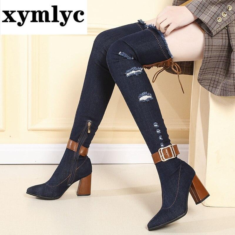 Купить rimocy женские узкие ботфорты выше колен ботинки из джинсовой