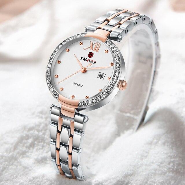 Kademan 2020 vestido de ouro relógio feminino cristal diamante relógios de pulso adies aço inoxidável prata relógio feminino montre femme 2