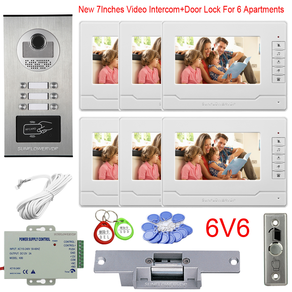 Multi Apartments Video Call Rfid Cards Door Camera 2 To 6 Buttons Wired Video Intercom 7Inches New Monitor + Eectric Door Lock