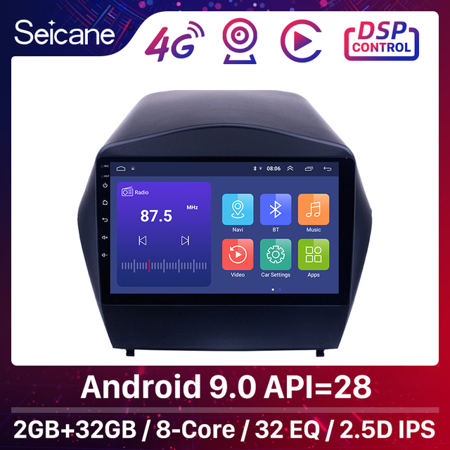Seicane 안 드 로이드 9.0 2din 자동차 라디오 2009 2010 2011 2012 2015 현대 IX35 GPS 멀티미디어 플레이어 블루투스 OBD2 2GB RAM