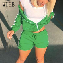 Women's Set Matching-Set Sweatsuit Street-Tracksuit Two-Piece Outfit Shorts Patchwork-Track-Jacket
