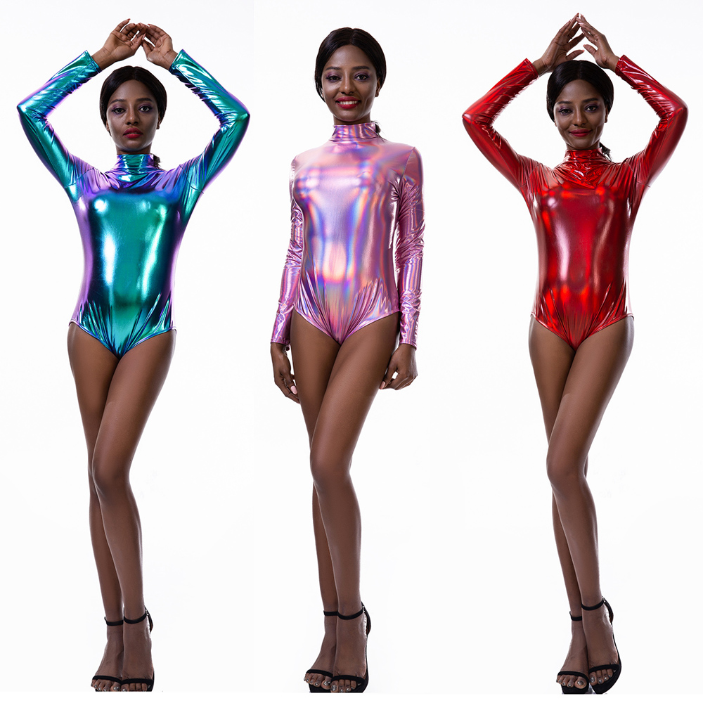 S-XXL Plus Size Women Multicolor Glitter Long Sleeve Bodysuit Pole Dance Night Clubwear Magic Color Wetlook Body Suit Catsuit