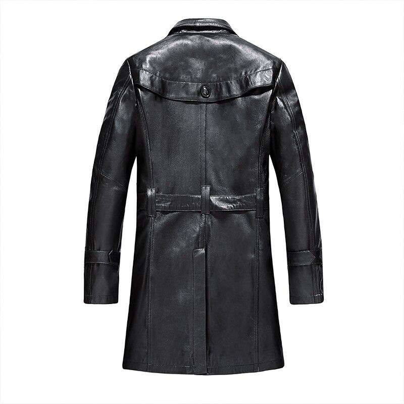 Genuine Leather Jacket Men Long Sheepskin Coat Autumn Men's Windbreaker Leather Jackets Veste Cuir Homme WZM11994 KJ2103