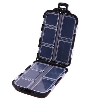 10 Compartments Mini Storage Box Fishing Tackle Box Fishing Bait Spoon Hook Bait Box Gadget Box Pesca Fishing Accessories - Black, Spain