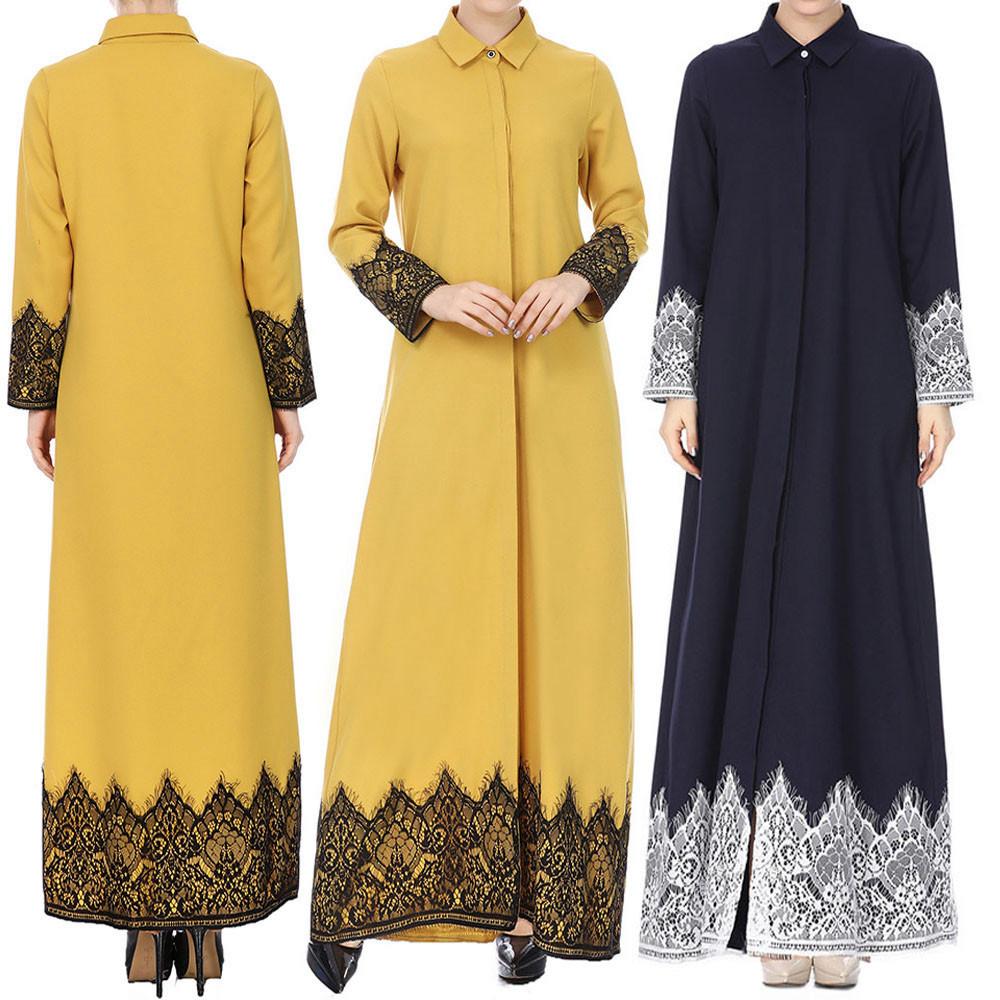 Muslim Women Lace Trimmed Front Abaya Muslim Maxi Dress Kaftan Kimono Jilbab Muslim Kaftan Long Dress женское платье Fashion