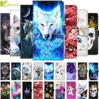 Funda de cuero con dibujos de animales para Xiaomi Mi A3 Lite, funda protectora con tapa para teléfono móvil