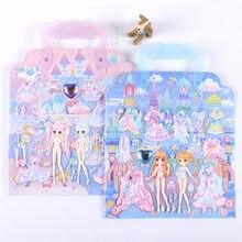 Koteta adesivos 3d beleza, vestido, para meninas, presente de natal, brinquedo, à prova d' água, scrapbooking, decoração diy