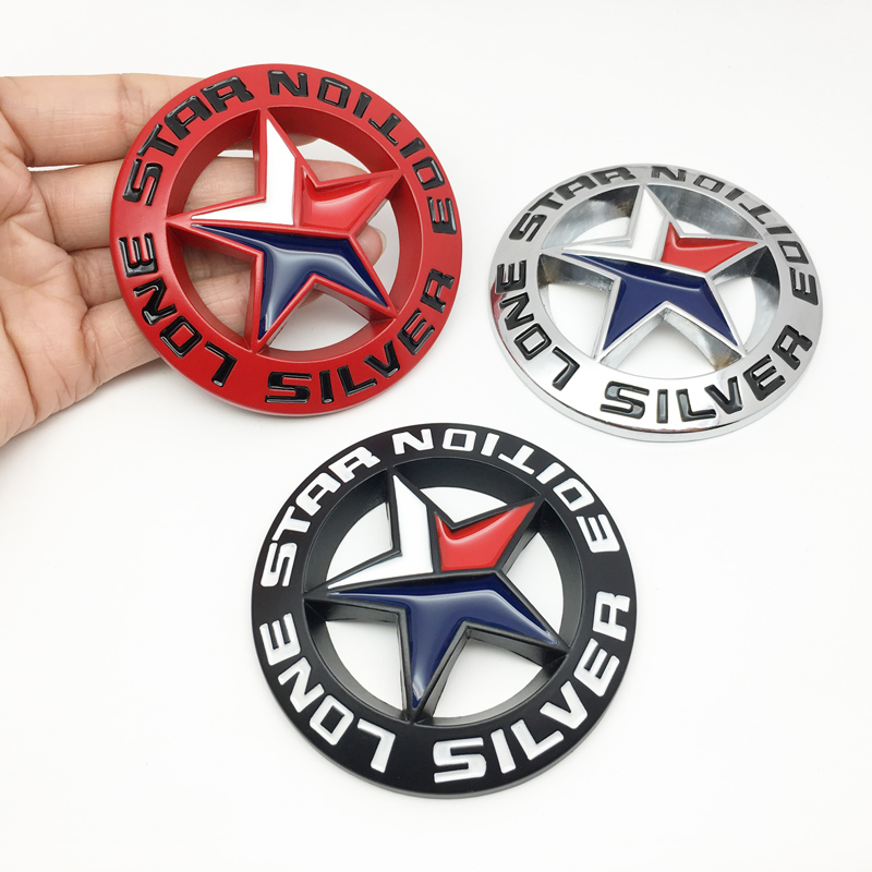 3D Metalen Lone Star Silver Edition Logo Embleem Badge Auto Styling Sticker Voor Universele Auto Motorfiets Decoratieve Accessoires