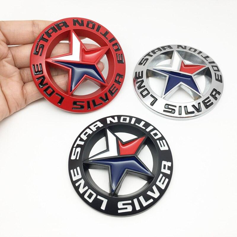 3D Metall LONE STAR SILBER EDITION Logo Emblem Abzeichen Auto Styling Aufkleber Für Universal Autos Motorrad Dekorative Zubehör