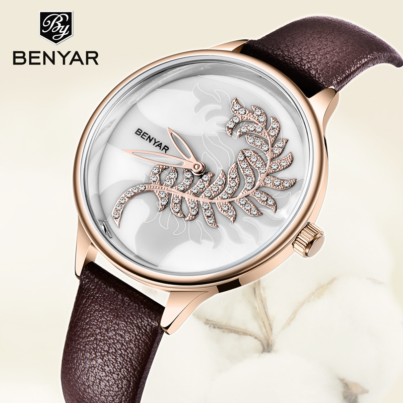 Women Watches BENYAR Quartz Fashion Gold Watch Top Brand Luxury Ladies Watches  Hand Clock Women