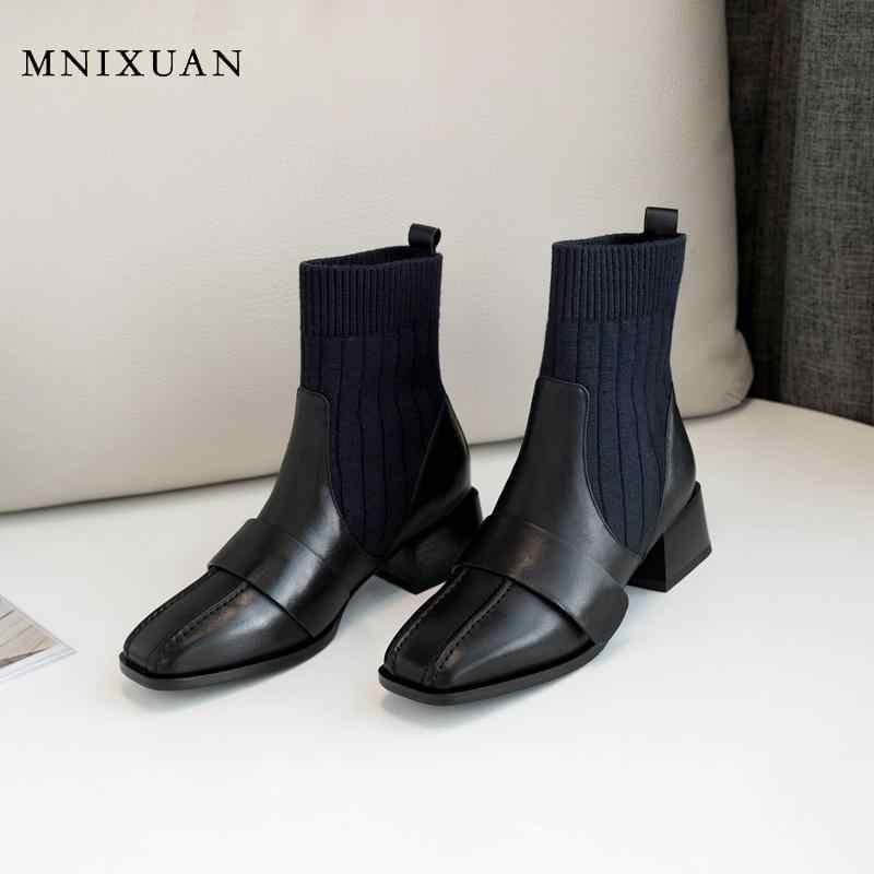 MNIXUAN รองเท้าผู้หญิง 2019 ใหม่แฟชั่นฤดูหนาวผู้หญิงรองเท้าหนังแท้สแควร์ toe ข้อเท้ารองเท้าส้นถุงเท้ารองเท้าสีดำ