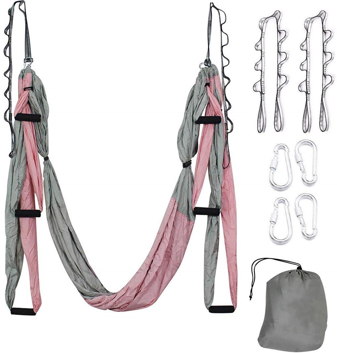 Aerial Yoga Hammock Set Antigravity Yoga Swing Ultra Strong For Air Yoga Inversion  Hanging  Exercises With 2 Extensions Straps