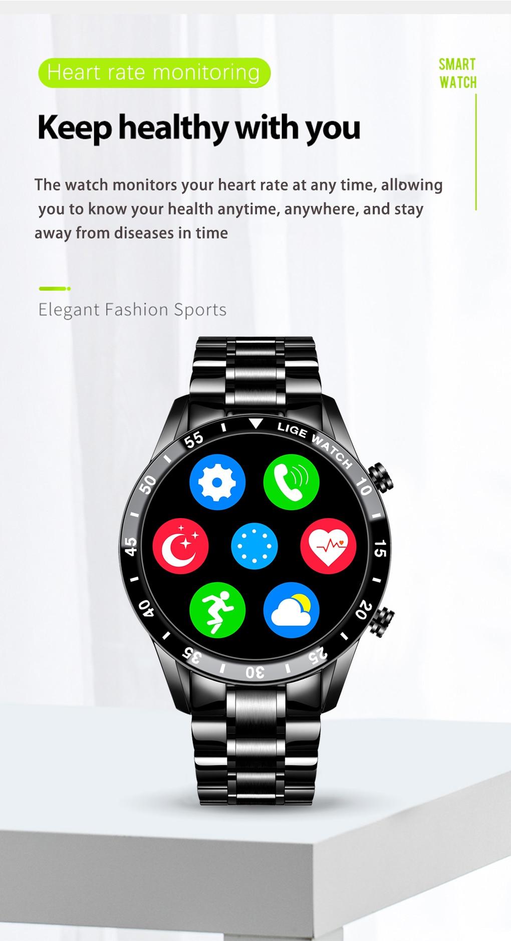 H09f6516b0b574e8a829d8f8238908a42a LIGE 2021 Full circle touch screen steel Band luxury Bluetooth call Men smart watch Waterproof Sport Activity fitness watch+box