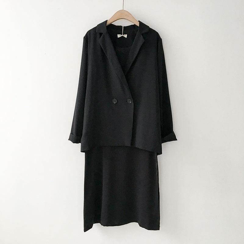 Goddess Fashion Set Spring 2020 New Women's Korean Suit Long Sleeve Jacket + Sling Dress