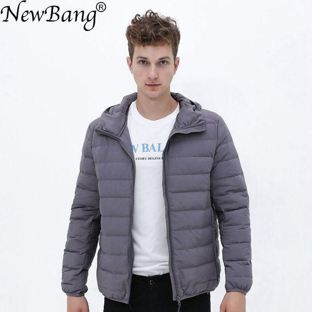 Chaqueta ultraligera de tela mate con capucha para hombre, chaqueta de plumón para invierno, cortavientos, chaqueta de plumas, abrigo portátil ligero para hombre