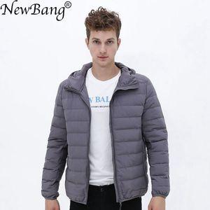 Image 1 - Matt Fabric Ultra Light Down Jacket Men Hooded Winter Mens Down Jacket Windbreaker Feather Jacket Man Lightweight Portable Coat