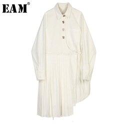Женское плиссированное платье EAM, белое асимметричное платье-рубашка с длинными рукавами и отложным воротником, весна-осень 2020, 1X755