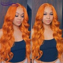 Оранжевый имбирь цветов по 13x6 синтетические волосы на кружеве парики предварительно вырезанные бразильские волнистые человеческие волосы...