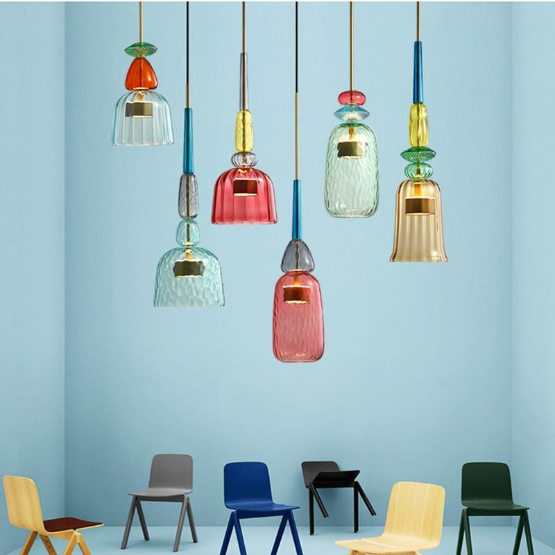 Luzes pendentes coloridas nórdicas, decoração de casa, sala de estar, quarto, de vidro, pendurada, lâmpada