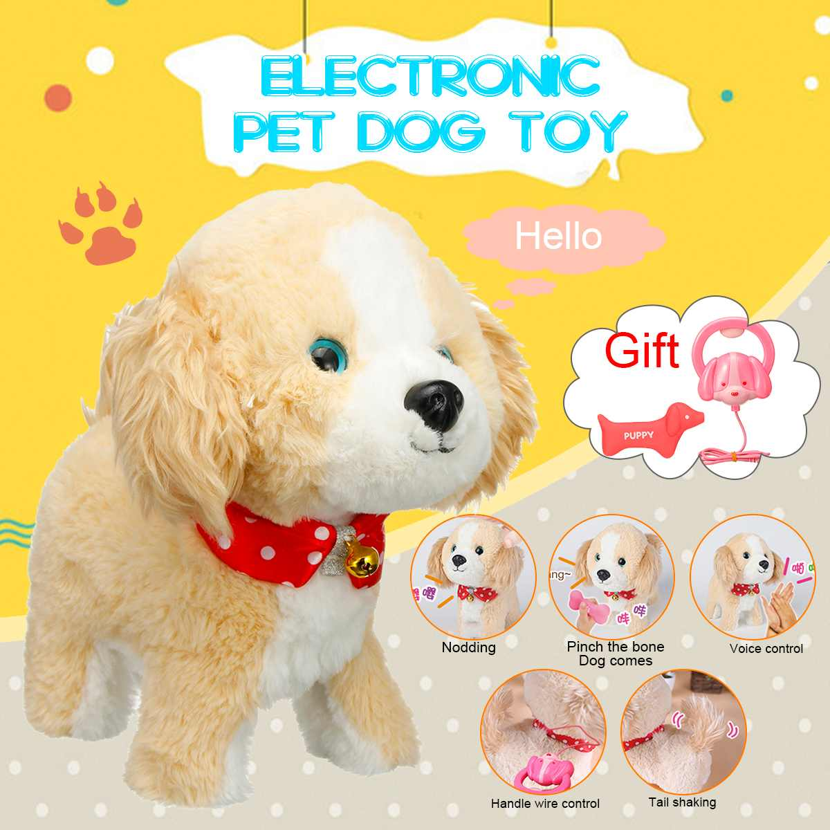 Robot Dogs Talk Walk Bark Interactive Dog Toy Electronic Toys Sound Control Yellow Plush Pet Dog Toys For Children Birthday Gift