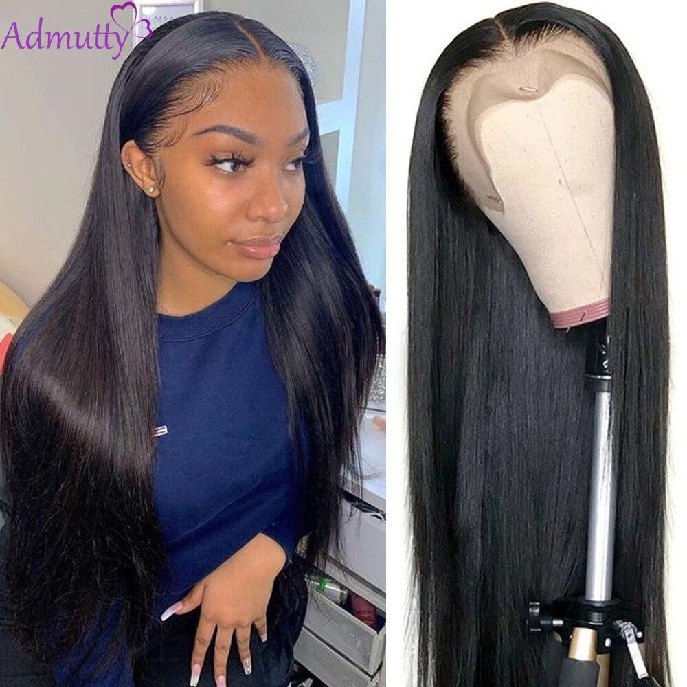 Прямые парики из человеческих волос для женщин, HD прозрачный парик на сетке спереди, перуанский 13X4 13X6, парик на сетке спереди, предварительн...