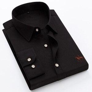Image 5 - Вышитые рубашки больших размеров 6XL из 100% хлопка, мужская рубашка с длинным рукавом, удобная тонкая мужская классическая рубашка 5XL размера плюс, высокое качество, дешево