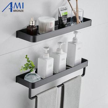 Czarna przestrzeń aluminium półki łazienkowe półka jednopoziomowa półka szampon półka kuchenna półka łazienkowa tanie i dobre opinie Amibronze Jeden poziom Śruba typu wstawianie Łazienka półki CORNER Aluminum BY-806 black