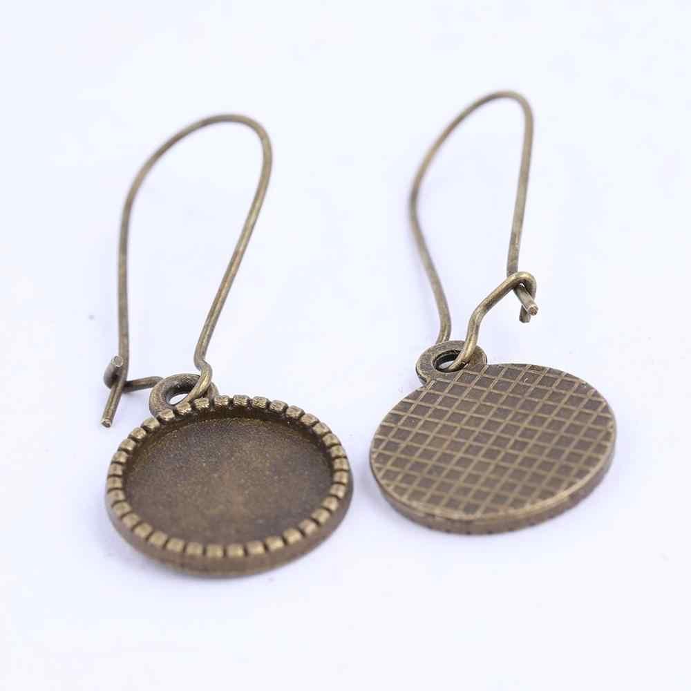 20 pièces antique bronze 12mm cabochon boucle d'oreille balancent des ébauches de réglage de base bricolage lunette accessoires pour boucles d'oreilles faisant des fournitures