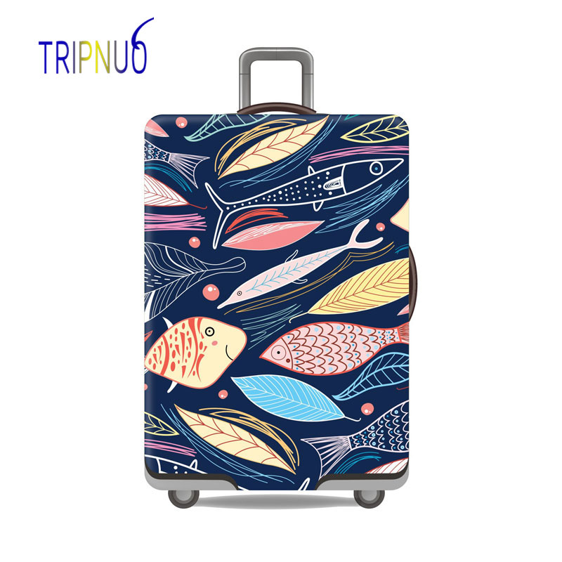 TRIPNUO Cartoon Fish Thicken Suitcase Protective Covers For 18-32 Inch Suitcase Case Travel Luggage Bag Trolley Elastic