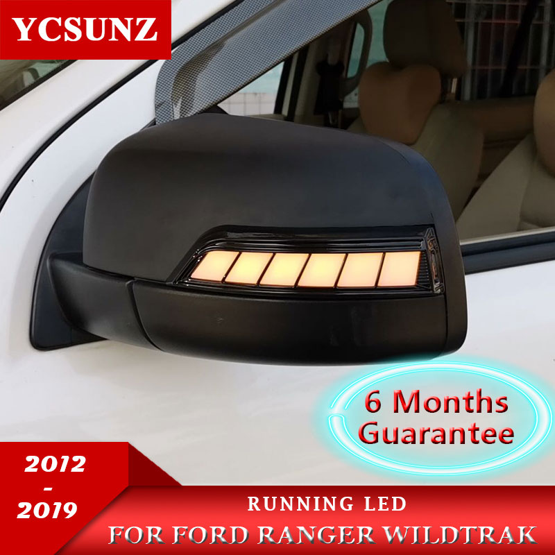 Running LED Mirror Covers For Ford Ranger 2012-2019 T6 T7 T8 Wildtrak Double Cabin With Lights