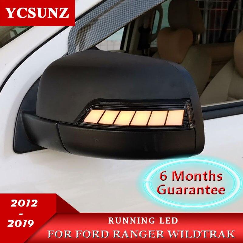 Koşu için LED ayna kapakları Ford Ranger 2012-2019 T6 T7 T8 Wildtrak çift kabin ışıkları ile