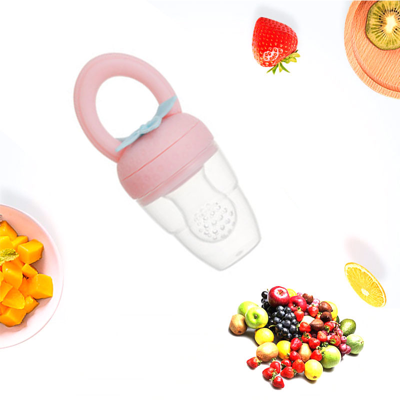 1Pcs Strawberry Shape Baby Pacifier Fruit Feeder   Handle Pacifier Training Nipple Milk Fresh Fruit Nibbler Teat Pacifier Bottle