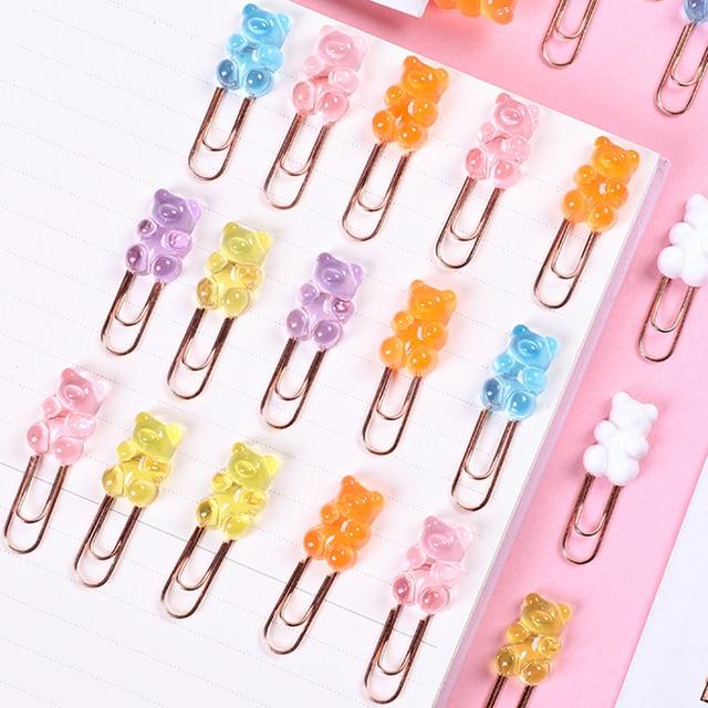 Фото 2 шт/лот kawaii красочный медведь зажим для бумаги декоративная
