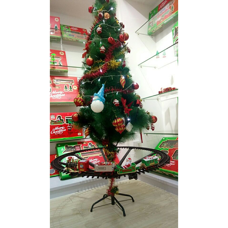 Christmas tree decoration train track frame Christmas Train Electric Toys Railway Car with Sound&Light Rail Car Christmas gifts|Diecasts & Toy Vehicles|   -