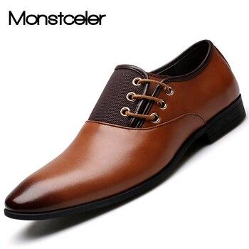 Monstceler, nuevo estilo, zapatos de cuero para hombre, zapatos Oxford para hombre, zapatos de vestir formales de negocios para hombre, zapatos de boda de Punta puntiaguda para hombre
