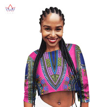 BRW Womens Summer Dashiki African Printed Crop Top 2017 Half Sleeve Cotton T Shirts Brand New Casual Tees Cropped WY1501