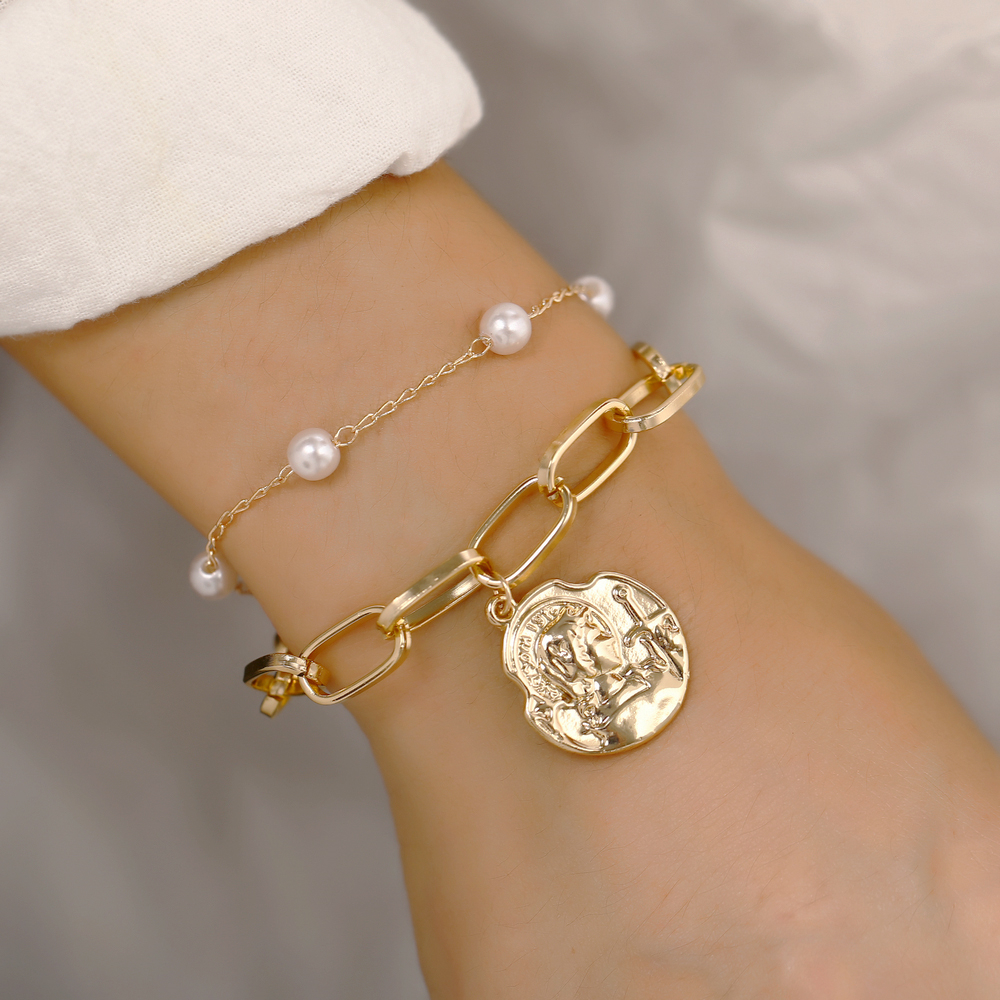 Vintage Gold Silver Artificial Pearl Head Coin Fashion Bracelets & Bangles For Women Boho Multiple Layers Bracelet Set Jewelry